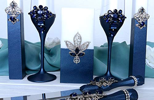 ing champagne flutes Unity candle set Cake server and knife set Personalized wedding toasting glasses Cake cutting set ()