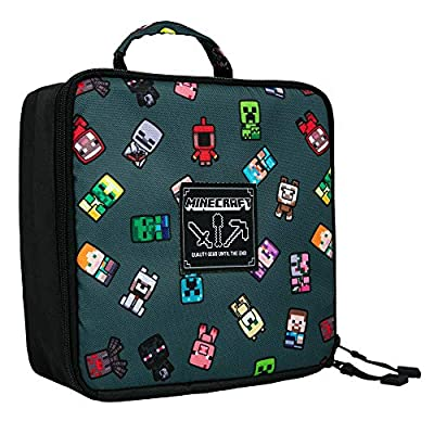 "JINX Minecraft Bobble Mobs Insulated Kids School Lunch Box, Gray, 8.5""x 4"""