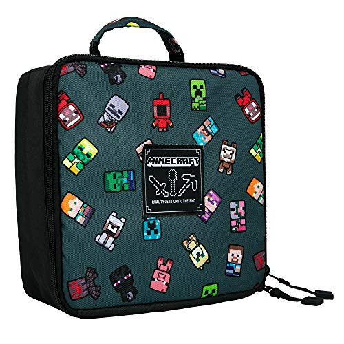 JINX Minecraft Bobble Mobs Insulated Kids School Lunch Box, Gray, 8.5