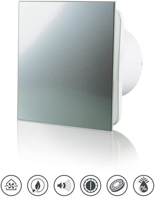Vlano 100 Simple T wei/ß//Alu//schwarz Front Badl/üfter Timer Nachlauf Haus-L/üfter Ventilator Rauml/üfter /Ø 100 mit Timer//Nachlauf, schwarz