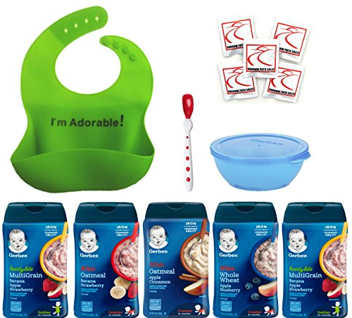 Gerber Baby Cereal Lil' Bits & Hearty Bits Ultimate Variety Pack, Silicone Baby Bib, Spoon and Bowl. Bundle of 5 Cereals -