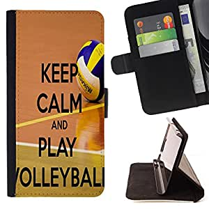 Dragon Case- Caja de la carpeta del caso en folio de cuero del tir¨®n de la cubierta protectora Shell FOR Samsung Galaxy S6 Edge G9250 G925F- Keep calm and play Volleyball