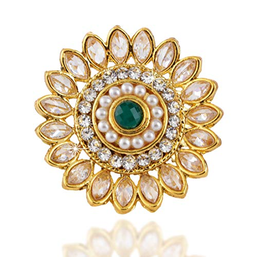Yellow Chimes Traditional Kundan Studded Stylish Classic Gold Plated Cocktail Wedding Rings for Women & Girls