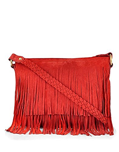 Paint Red Leather Suede Sling BagPT091432