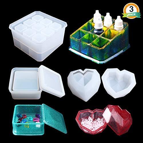 Box Resin Molds LETS Resin Jewelry Box Molds with 9-Slot Epoxy Molds, Diamond Heart Molds, Square Silicone Molds for Making Resin Box