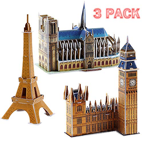 BooTaa 3D Puzzles Models French Series Architecture Kits for Kids, 3 Pack 93 Pieces ()