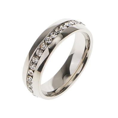 Anillo de Boda Compromiso Dedo Diamantes de Imitación Unsex Decoración Boda Color Plata US 9