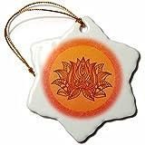 3dRose Andrea Haase Art Illustration - Illustration Of Lotus flower Symbol in Orange - 3 inch Snowflake Porcelain Ornament (orn_268517_1)