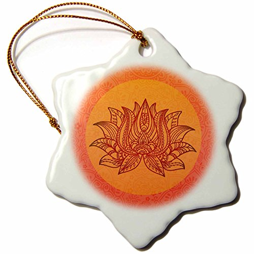 3dRose Andrea Haase Art Illustration - Illustration Of Lotus flower Symbol in Orange - 3 inch Snowflake Porcelain Ornament (orn_268517_1) by 3dRose