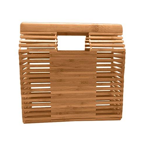 Gaeruite Sac tressé fait main de bambou pour des filles de fille, sac de stockage de Totes d'été sac de plage (B)