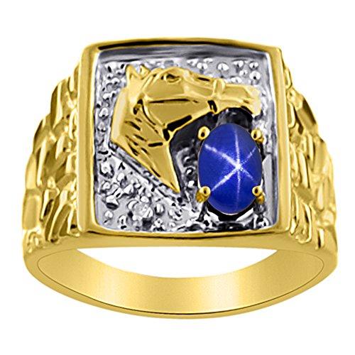 Diamond & Blue Star Sapphire Ring 14K Yellow or 14K White Gold Lucky Horse Head Ring -