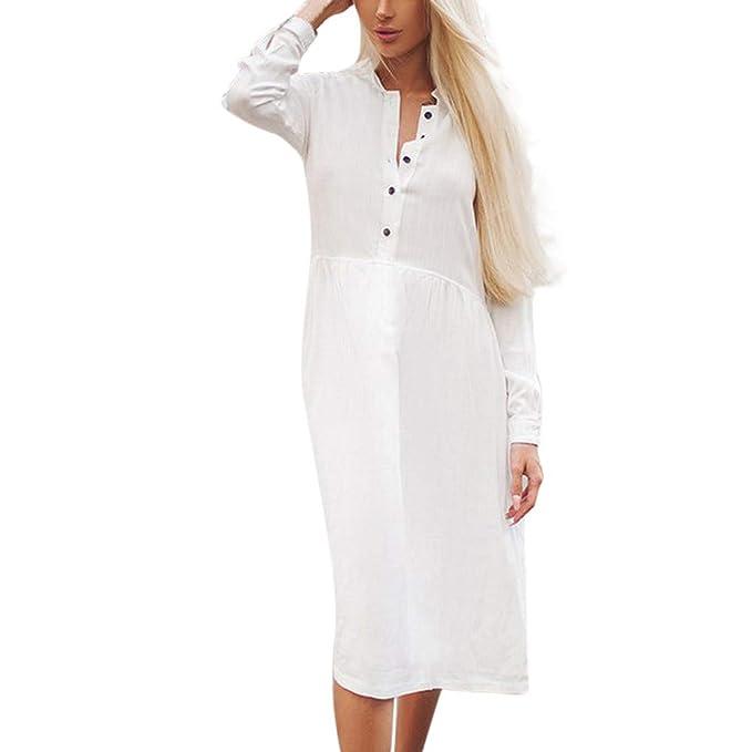 Vestiti Donna Eleganti Manica Lunga Rotondo Collo Semplice Tinta Unita  Vintage Moda Casual da Cerimonia Cocktail 94f15c1e31d