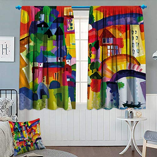 (Anhounine Art,Blackout Curtain,Modern Vivid Abstract Architectural Buildings Urban Apartment Houses Village Landmark,Waterproof Window Curtain,Multicolor,W55 x L72 inch)