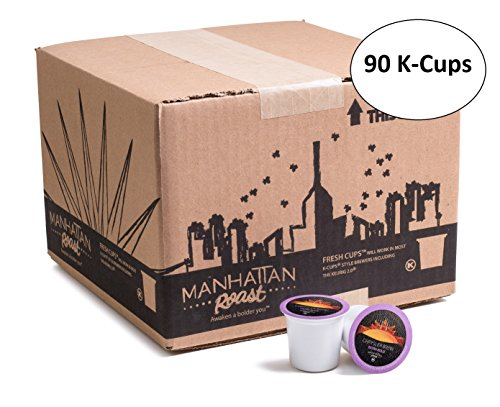 Manhattan Roast 'Chrysler Devise' (Espresso Style / Extra Bold) Single-Serve Coffee Freshcup works in most Keurig K-Cup Brewers 90 Depend on Box