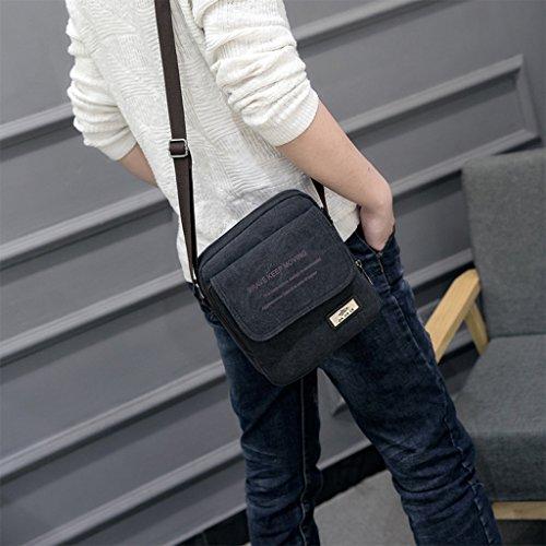 bandolera bolsa bolso bolsa bandolera marrón Cruz Super organizador bolso Pack cuerpo Lona bandolera de negro bolsa Mini hombre hombro multibolsillos moderno Vintage hombres Pequeño 4wqtOZ
