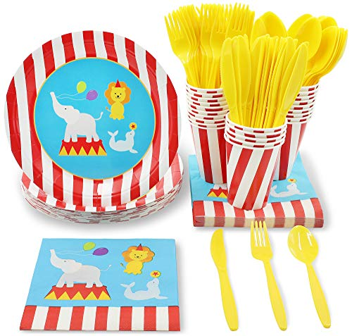 Juvale Circus Animals Party Supplies for Kids Birthdays and Baby Showers - Plates, Knives, Spoons, Forks, Napkins, and Cups, Serves 24 ()