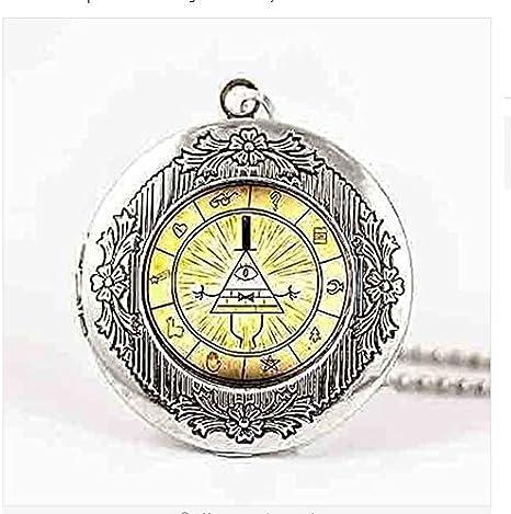 Bill Cipher Wheel Pendant Necklace,Glass Mens Handmade Jewelry