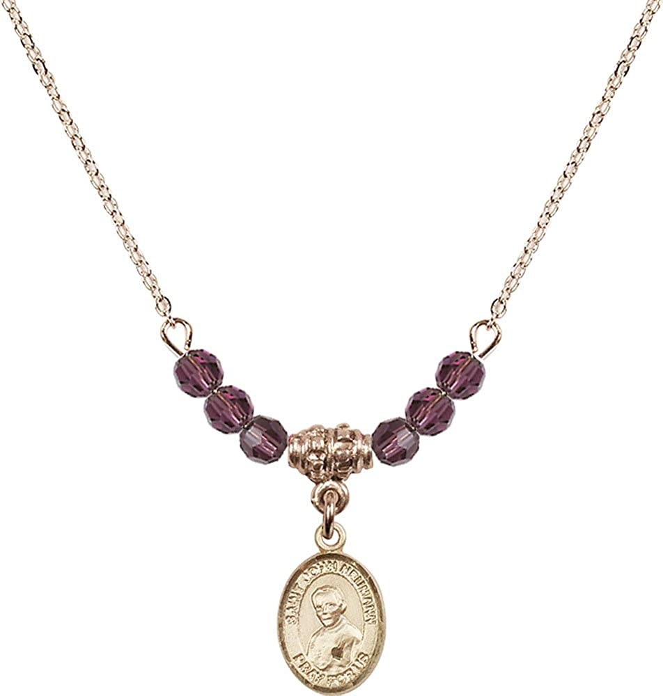18-Inch Hamilton Gold Plated Necklace with 4mm Amethyst Birthstone Beads and Gold Filled Saint John Neumann Charm.