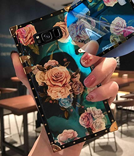 KAPADSON for Samsung Note 8 Newest Retro Blue Ray Rose Flower Glitter Skin Design TPU+ PU Leather Gold Square Corner Back Case with Holder - Rose