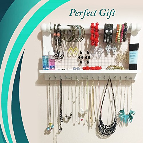 Hanging Jewelry Organizer | Wall Mounted Wooden Holder for Necklace, Earrings, Bracelets, Rings & Other Accessories | With Hooks, Shelf, Wire Grid & Removable Bar | 17.5'' x 10'' Size | White by Jewelry Display (Image #6)