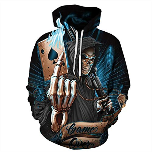 Poker Spades A Hoodie Punk Cool Game Over Sweatshirts Men Dark Arbiter Harajuku Pullover Lover's Streetwear Top 1 S - Harajuku Lovers Leopard