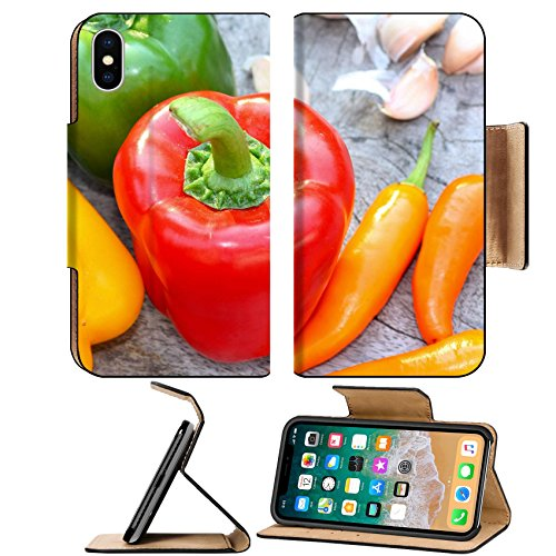 Liili Premium Apple iPhone X Flip Pu Leather Wallet Case Colored bell peppers on wooden table Photo 19806557 Simple Snap Carrying