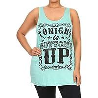 Hot ! Women Plus Size Tank Top Summer Blouse, Ninasill TONIGHT Letters Halter Top Fashion Sleeveless Camisole (XXL, Green)