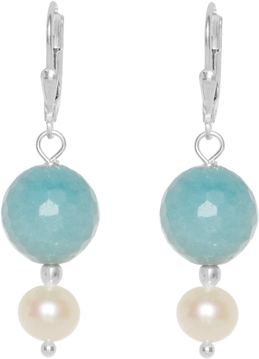 ERCE perlas de agua dulce - amazonita piedra semipreciosa pendientes, plata de ley 925
