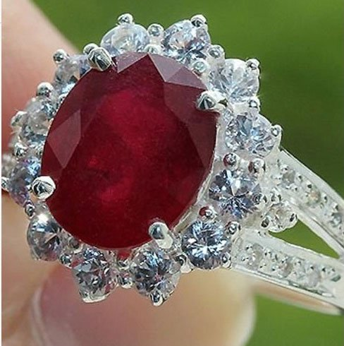 Estate Ruby Ring - Estate Genuine 5.30 Cts Ruby & White Topaz Ring 100% Solid 925 Silver Size#7.5