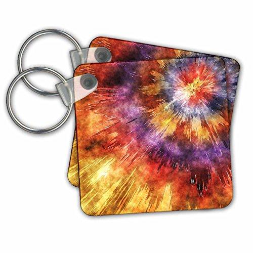 Phil Perkins - Graphic Design - Shades of Orange Tie Dye Starburst - Key Chains - set of 4 Key Chains (Shade Starburst)