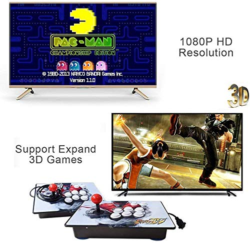 XFUNY Arcade Game Console 1080P 3D & 2D Games 2350 in 1 Pandora's Box 2 Players Arcade Machine with Arcade Joystick Support Expand 6000+ Games for TV / Laptop / PC / PS4 by XFUNY (Image #2)