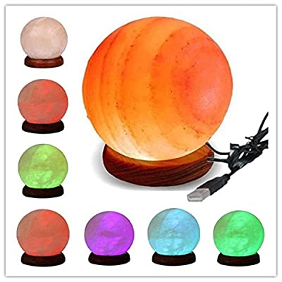 Natural Himalayan Salt Lamp - Pink prototype Glow Rock Salt Lamps With Wood Base Included USB Electric Wire & Multi Color Changing LED Light - Mini Air Purifier For Office Home Hotel Yoga