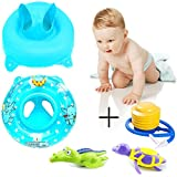 Sealive 1pc Popular Kids Inflatable Safety Seat Pool Float Swimming Toy With Handle,Pool Bathtub Toys Turtle and crocodile Wind up Water Toy (Blue)