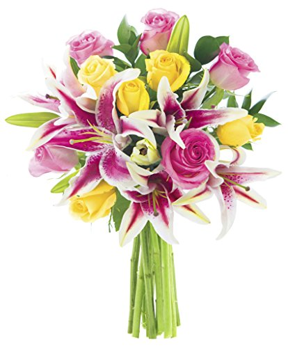 KaBloom Lily Pop Bouquet with Fresh Roses: 5 Pink Roses, 5 Yellow Roses, 5 Stargazer Lilies and Lush Greens without Vase