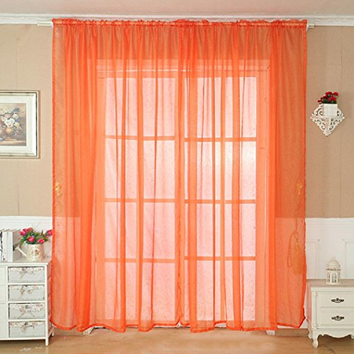 Solid Color Tulle Door Window Curtain Drape Panel Sheer Scarf Valance Orange - 3