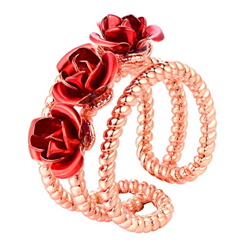 U7 You are My Rose Ring Rose Gold Plated 3-Line Red Flower Adjustable Size Open - Heart Earrings Gold Red