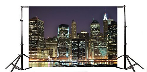 Yeele 5x3ft New York Financial Business District Photography Backdrops Vinyl Skyscraper Modern International Center Photo Background Downtown Illuminated Office Adult Family Portrait Studio -