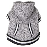 FouFou Dog 62579 Heritage Knit Hoodies for Dogs, Small, Heather Gray