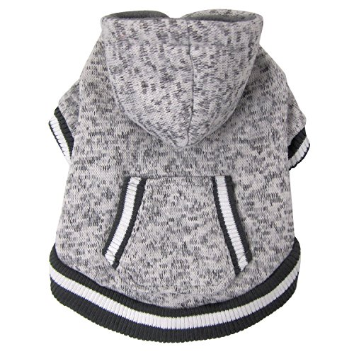 FouFou Dog 62579 Heritage Knit Hoodies for Dogs, Small, Heather Gray by FouFou Dog