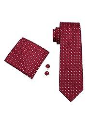 CAOFENVOO Red Men's Tie Hanky Cufflinks Jacquard Woven Silk Necktie N-1018