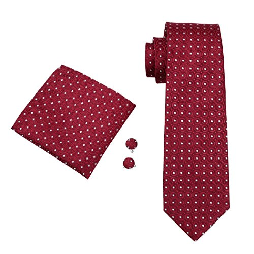 Hanky CAOFENVOO Cufflinks Silk Set Woven Red Men's Tie Dots Polka n0xrwq6CB0