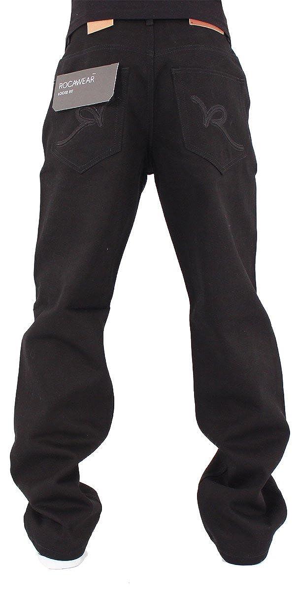 Rocawear Mens Double R Denim Loose Fit Jeans Black