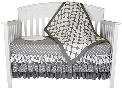 (Grey With White Polka Dots 4-in-1 100% Cotton Baby Crib Bedding Set by Bacati)