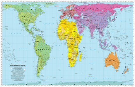 Peters Equal Area World Map 24x36 inches; without panels - laminated Map - 2015