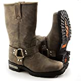 Xelement LU2604 Womens Stone Wash Brown Leather Harness Motorcycle Boots - 9 1/2