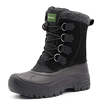70e0d2ec4a2 Men's Winter Snow Boots Waterproof Non-Slip Safety Warm Hiking Boots Hiking  Boots high Traction Grip Leisure Outdoor Rubber Sole Suede Leather Black ...