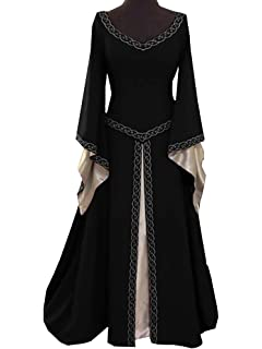 Younsuer Women Medieval Dress Lace up Vintage Floor Length Cosplay Retro Long Dress Plus Size S