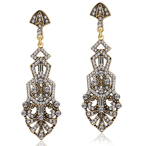 (Coucoland 1920s Flapper Earrings Roaring 20s Great Gatsby Rhinestone Earrings (Stly2-Gold))