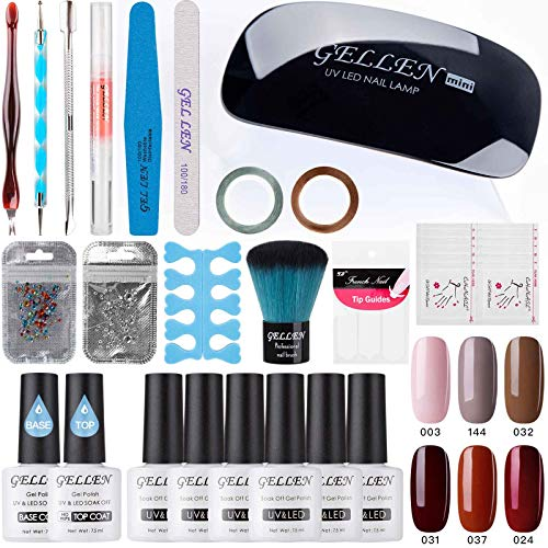 Gellen Gel Nail Polish Starter Kit - Fashion Lady 6 Colors, with Top Coat Base Coat Nail LED Lamp Nail Art Design Tools, Portable DIY Home Gel Manicure Set 003