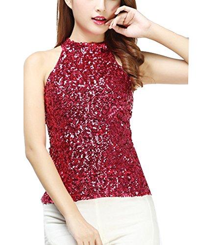 Chispa Brillo Mujeres Brillar Lentejuela Camiseta Sin Mangas Tops Chaleco Rojo